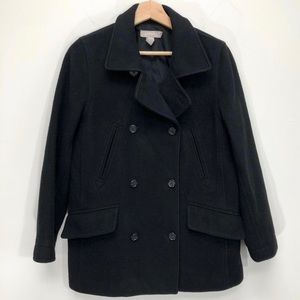 J. CREW Black Wool Cashmere Peacoat Pea Coat PS